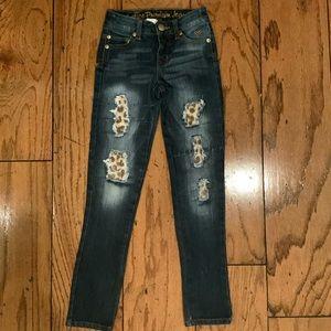 Like New Justice Premium Cheetah Patch Jeans